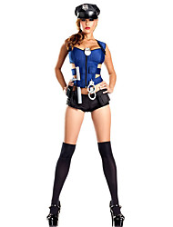 cheap -Police Career Costumes Cosplay Costumes Party Costume Women's Female Halloween Carnival Festival / Holiday Halloween Costumes Blue Solid