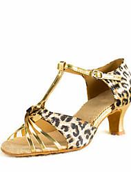 Women's Dance Shoes Latin Satin  Heel Leopard Customizable