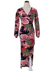 abordables -Mujer Corte Bodycon Vestido Casual/Diario Tejido Oriental,Floral Escote en Pico Midi Manga Larga Rojo Algodón Otoño Tiro Alto Rígido Medio