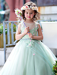 Ball Gown Floor Length Flower Girl Dress - Tulle Charmeuse Sleeveless Jewel Neck with Beading Flower(s) Lace by Huaxirenjiao