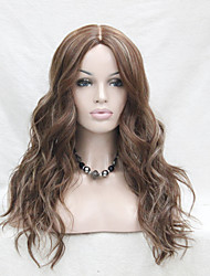 High Quality Heat Resistant  Synthetic Caramel With Blonde Highlights  Wavy Lace Front Long Wig