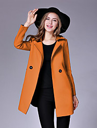 cheap -Women's Wool Coat - Solid Colored V Neck