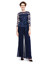cheap -Sheath / Column Pantsuit Bateau Neck Ankle Length Chiffon Beaded Lace Mother of the Bride Dress with Beading Bow(s) Crystal Detailing