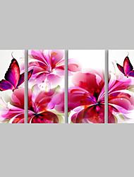 economico -e-Home® allungata tela arte rosso farfalla e fiori decorazione della pittura set di 4
