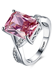 preiswerte -Damen Synthetischer Rubin Sterling Silber / Zirkon / Diamantimitate Herz Statement-Ring / Bandring - Personalisiert / Liebe / Modisch Rot