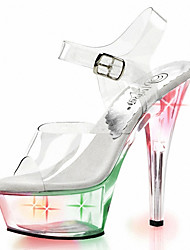 cheap -Women's Shoes PVC Summer Fall Club Shoes Light Up Shoes Heels Stiletto Heel LED for Casual Dress Party & Evening White Rainbow Blue