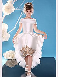Ball Gown Asymmetrical Flower Girl Dress - Lace Satin Sleeveless Off-the-shoulder with Ribbon