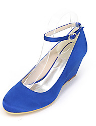 cheap -Women's Shoes Silk Spring Summer Comfort Heels Wedge Heel for Wedding Party & Evening Blue Pink Golden Champagne Ivory