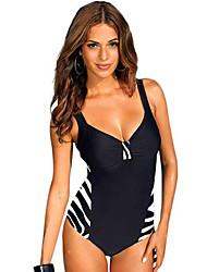 Womens Plus Size Vintage Color Block One Piece Swimwear(M-4XL)