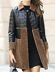 Cappotto di pelliccia Autunno / Inverno Semplice,Collage Colletto Acrilico Rosa / Rosso / Nero / Marrone Manica lunga Spesso