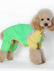 High Quality Waterproof Block Color Dog Raincoat Jumpsuits with Hoodie for Pets Dogs