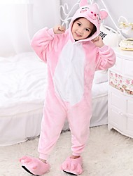 Kids Boys Girls Kigurumi Pajamas Piggy/Pig Sleepwear Leotard/Onesie Festival/Holiday Animal Sleepwear Halloween Patchwork Polar Fleece For Kid