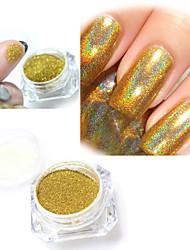 2g/Box Gold Rainbow Effect Nail Mirror Mermaid Pigment Laser Powder