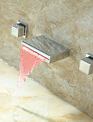 PHASAT Bathroom Sink Faucet wall mount with Changing LED  Waterfall
