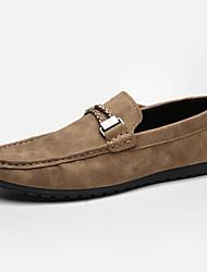 Недорогие -Муж. обувь Кожа Весна Осень Мокасины Мокасины и Свитер для Повседневные Черный Оранжевый Серый Хаки