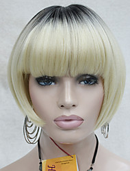 Heat Ok Synthetic Ombre Blonde with Dark Roots Bob Mushroom Style Short wig