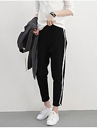 Women's Solid Black Harem PantsSimple / Active