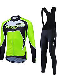 preiswerte -Fastcute Herrn Langarm Fahrradtrikots mit Fahrradhosen - Rot Grün Blau Fahhrad Kleidungs-Sets, warm halten, Fleece Innenfutter,