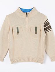 preiswerte -Pullover & Cardigan Alltag Solide Baumwolle Herbst Beige
