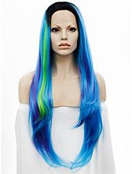 Donna Parrucche sintetiche Lace frontale Lisci Blu Radici scure Attaccatura dei capelli naturale parrucca del merletto costumi parrucche
