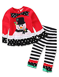 cheap -Girls' Party Clothing Set, Cotton Spring Fall All Seasons Long Sleeves Red