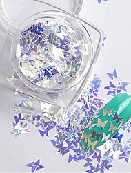 2g/box New Symphony Blue Butterfly/Diamond/Star Paillette Glitter Nails 3d Slice Powder Set DIY Design