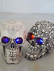 Недорогие -подарки смолы белая голова череп Хэллоуин реквизита маленький человеческий череп реплики дом с привидениями номер побег ужасный мерцающий