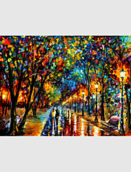 cheap -Hand-Painted Modern Street Scape Paintings One Panel Canvas Oil Painting