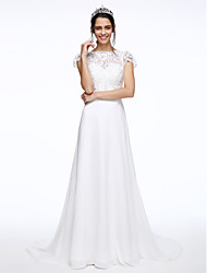 cheap -A-Line Illusion Neckline Court Train Chiffon Lace Custom Wedding Dresses with Sash / Ribbon Button Flower by LAN TING BRIDE®