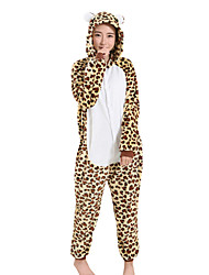 cheap -Kigurumi Pajamas Leopard Onesie Pajamas Costume Velvet Mink Brown Cosplay For Adults' Animal Sleepwear Cartoon Halloween Festival /