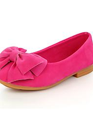 Para Meninas sapatos Couro Ecológico Primavera Outono Conforto Sapatos de Barco Laço Para Casual Preto Amarelo Vermelho Rosa claro