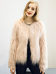 Long Sleeves Faux Fur Wedding Party Evening Casual Women's Wrap With Feathers / fur Shrugs