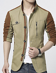 Men's Solid Casual / Work Leisure Trench Coat Cotton / Polyester Long Sleeve Winter Outerwear Khaki / Army Green