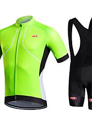 abordables -Fastcute Homme Manches Courtes Maillot et Cuissard à Bretelles de Cyclisme - Vert Vélo Cuissard / Short Cuissard à bretelles Collant à
