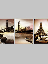 cheap -Stretched Canvas Art Famous Architecture Set of 3