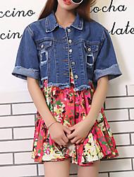 baratos -Mulheres Jaqueta jeans Moda de Rua - Sólido