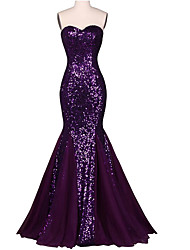 cheap -Mermaid / Trumpet Sweetheart Floor Length Chiffon Sequined Formal Evening Dress with Sequins by Shang Shang Xi