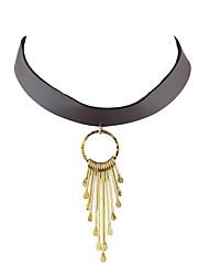 Dame Kort halskæde Læder Legering Mode Boheme Stil Personaliseret Sølv Gylden Smykker For Fest Daglig Afslappet 1 Stk.