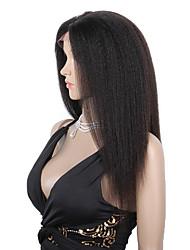 Недорогие -Натуральные волосы Бесклеевая сплошная кружевная основа Полностью ленточные Парик Бразильские волосы Прямой Естественные прямые Парик 130% 150% Плотность волос / Природные волосы / 100% ручная работа