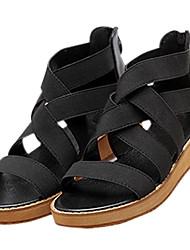 cheap -Women's Sandals Summer Platform / Sandals / Creepers PU / Fabric Outdoor / Casual Platform Split Joint / Zipper Black /