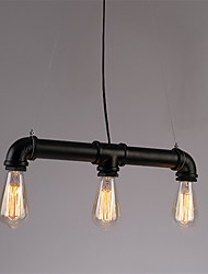 cheap -3 Lights Retro Industrial Simple Loft Iron pipe Pendant Lights Living Room Dining Room Kitchen Cafe Light Fixture