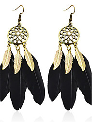 cheap -Bohemian Drop Earrings for Women Vintage Bronze Black Feather Earings Fashion Jewelry Long earring boucle d'oreille
