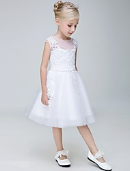 cheap -A-Line Knee Length Flower Girl Dress - Tulle Sleeveless Jewel Neck with Applique by Lovelybees
