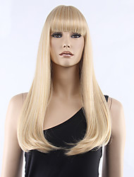 cheap -Top Grade Low Price Blonde Long Straight With Full Bang Synthetic Wigs