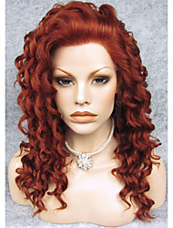 cheap -Synthetic Wig Curly Synthetic Hair Red Wig Lace Front Wig