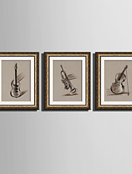 cheap -Framed Canvas Framed Set Music Wall Art, PVC Material With Frame Home Decoration Frame Art Living Room Bedroom Dining Room Kids Room
