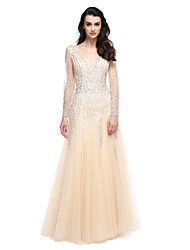 A-Line V-neck Floor Length Tulle Prom Formal Evening Dress with Beading by TS Couture®