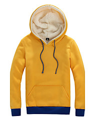 Men's Spring Winter Casual Daily Vintage Color Stitching Long Sleeve Cotton Fleece Lining Hooded Sweater