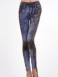 cheap -Women's Polyester Medium Denim Print Solid Colored Legging Blue