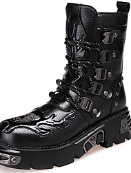 Men's Boots Spring/Fall/Winter Cowboy / Western Boots / Combat Boots Cowhide Outdoor / Casual Chunky Heel Black